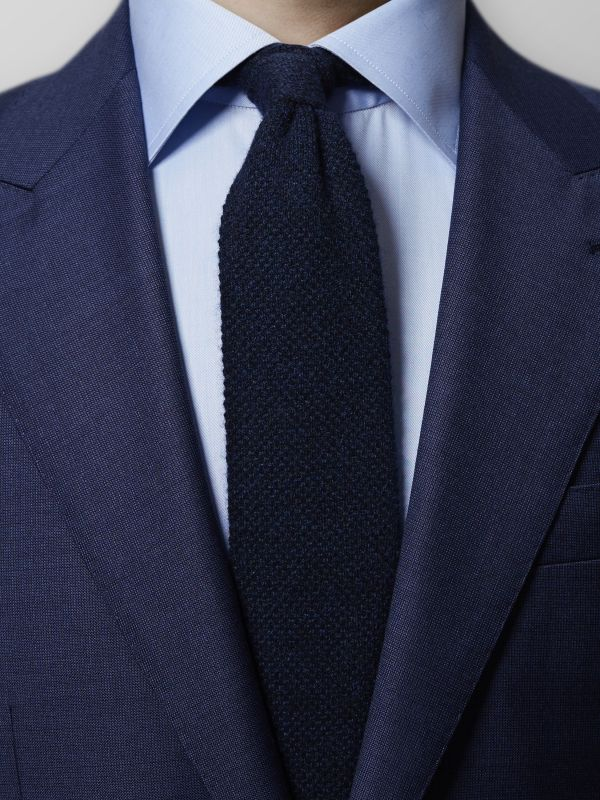 Navy Knitted Cashmere Tie