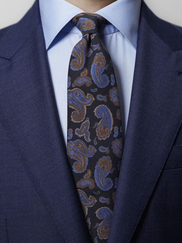 Black & Blue Madder Paisley Tie