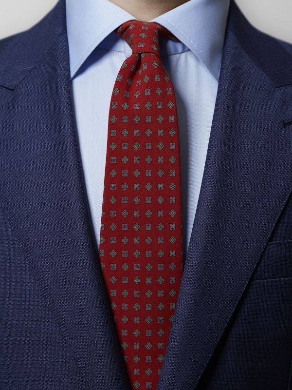 Red Medallion Madder Silk Tie