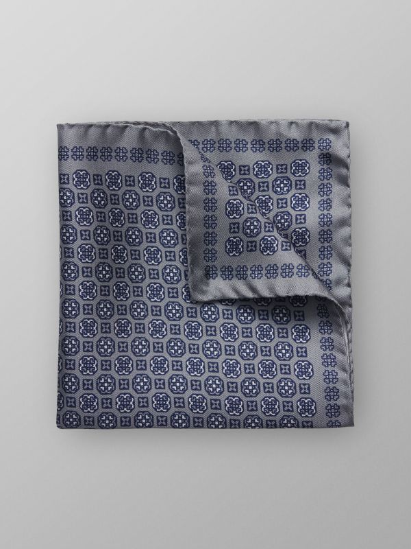 Grey Medallion Silk Pocket Square