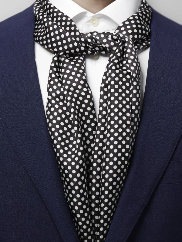 Black Polka Dots Silk Scarf