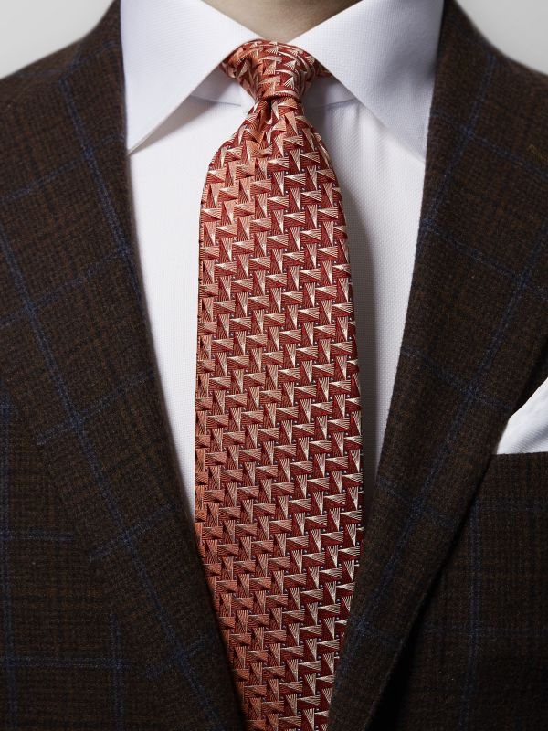 Orange Geometric Woven Silk Tie