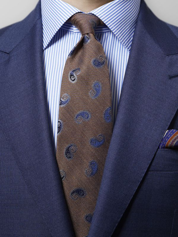 Brown Paisley Wool & Silk Tie