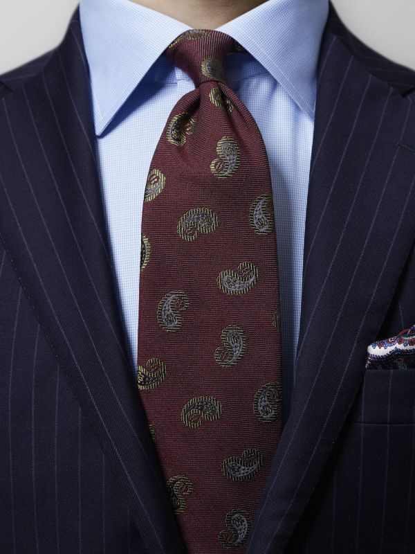 Burgundy Paisley Wool & Silk Tie
