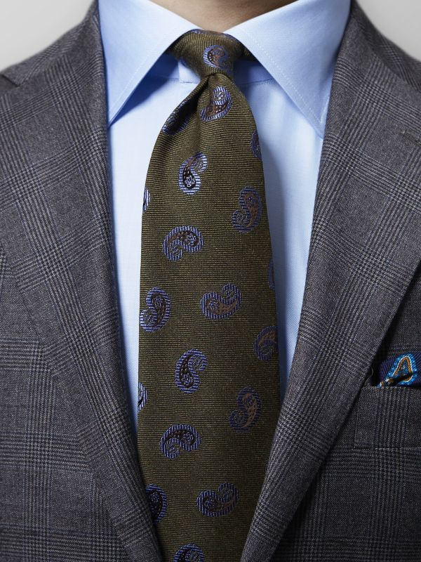 Green Paisley Wool & Silk Tie