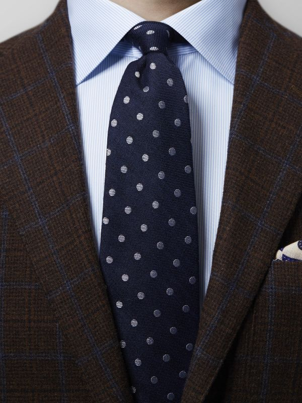 Navy Polka Dots Wool & Silk Tie