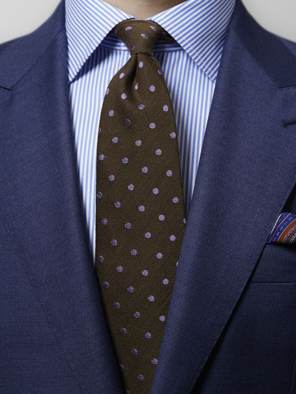 Brown Polka Dots Wool & Silk Tie