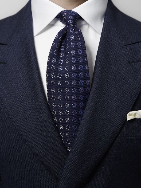 Navy Geometric Wool & Silk Tie