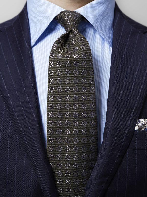 Green Geometric Wool & Silk Tie