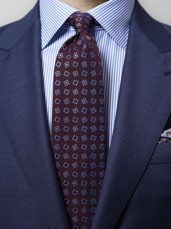 Burgundy Geometric Wool & Silk Tie