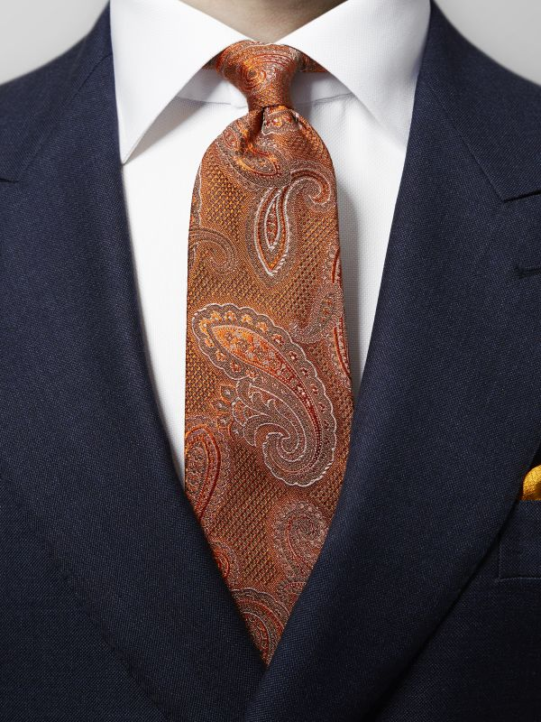 Orange Woven Silk Paisley Tie