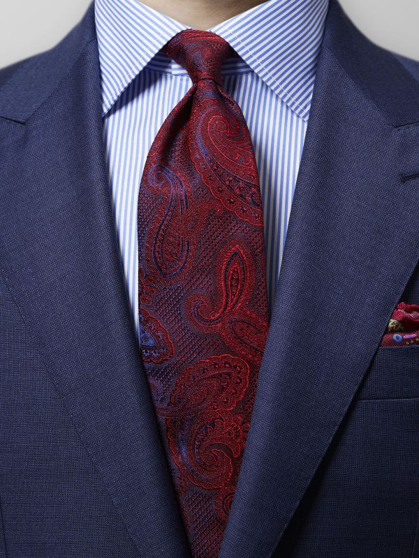 Red Woven Silk Paisley Tie
