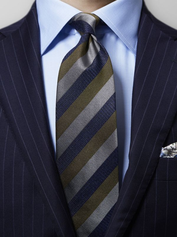 Navy & Green Striped Tie