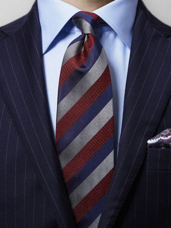 Burgundy & Navy Striped Tie