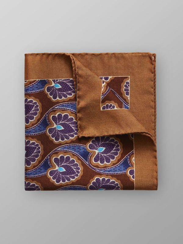 Brown Floral Wool & Silk Pocket Square