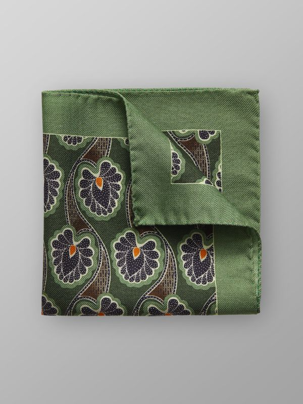 Green Floral Wool & Silk Pocket Square