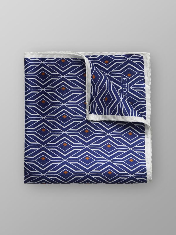 Navy Geometric Print Silk Pocket Square