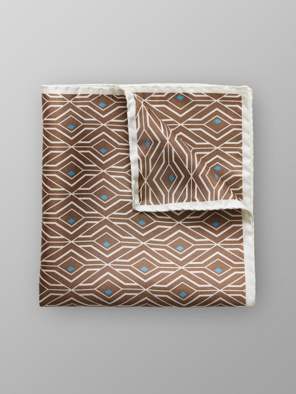 Brown Geometric Print Silk Pocket Square