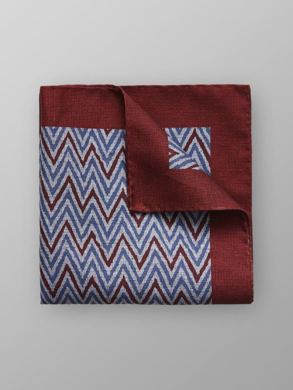 Red Zick Zack Cotton & Silk Pocket Square
