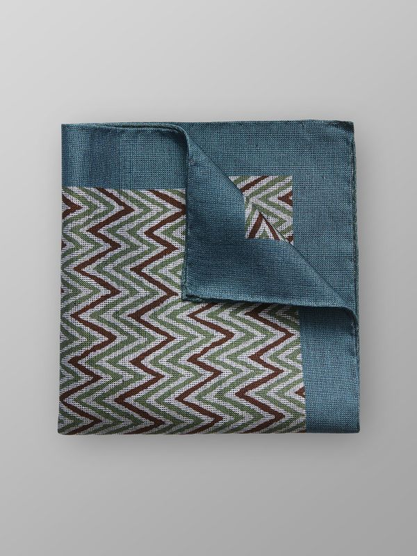 Green Zick Zack Cotton & Silk Pocket Square