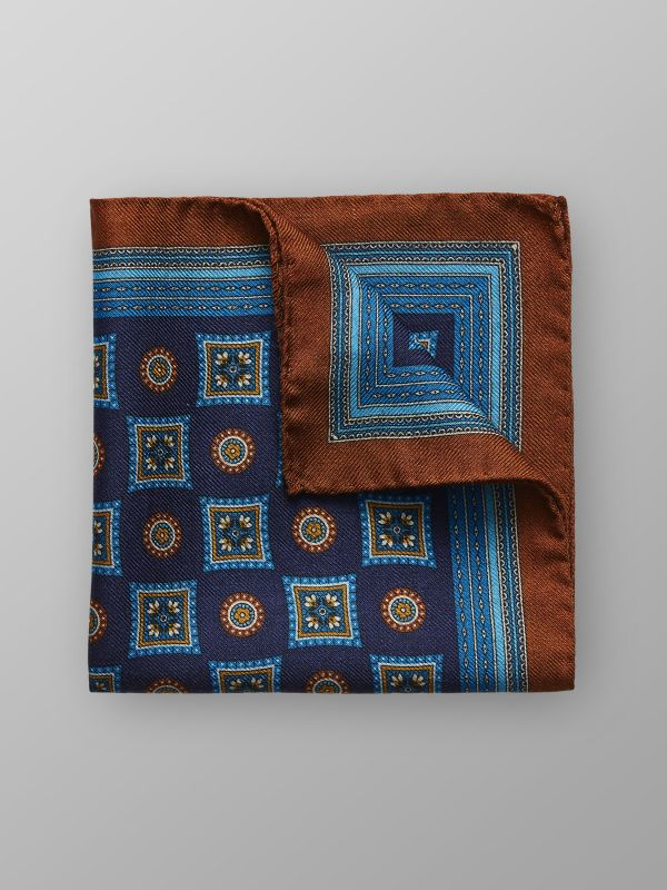 Medallion Wool & Silk Pocket Square
