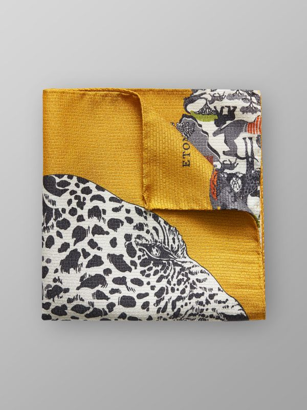 Safari Print Silk Pocket Square