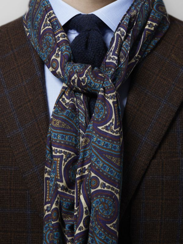 Blue & Brown Paisley Print Modal & Wool Scarf