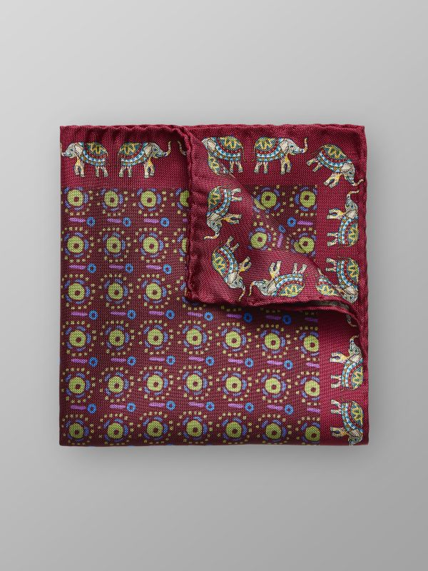 Elephant Print Silk Pocket Square