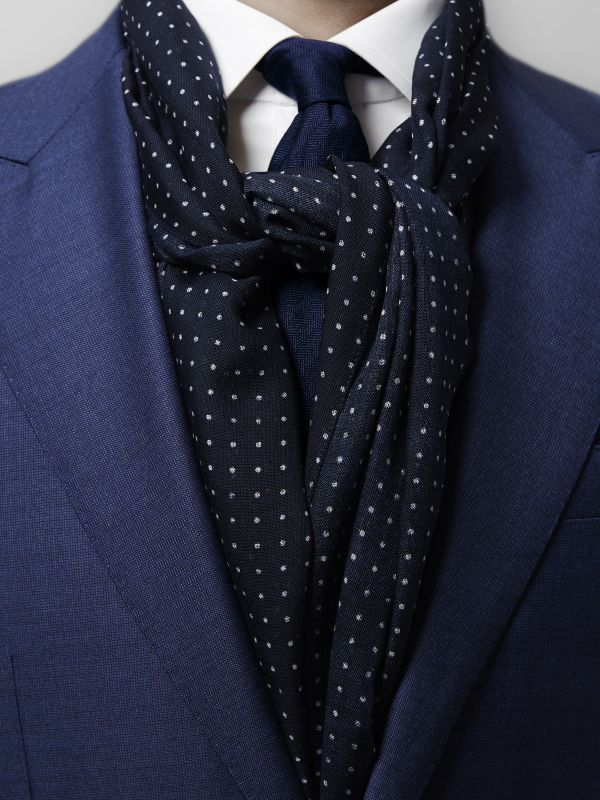 Navy Dots Wool & Silk Scarf