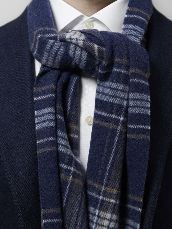 Blue & Brown Plaid Wool Scarf