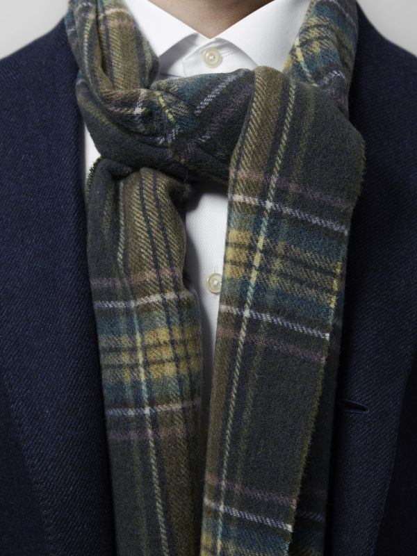 Green & Blue Plaid Wool Scarf