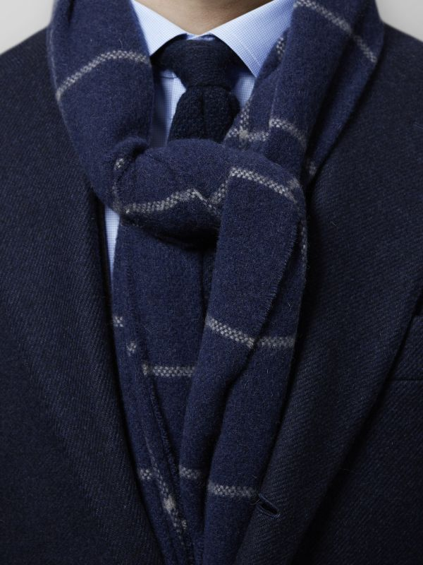 Navy Overcheck Wool Scarf