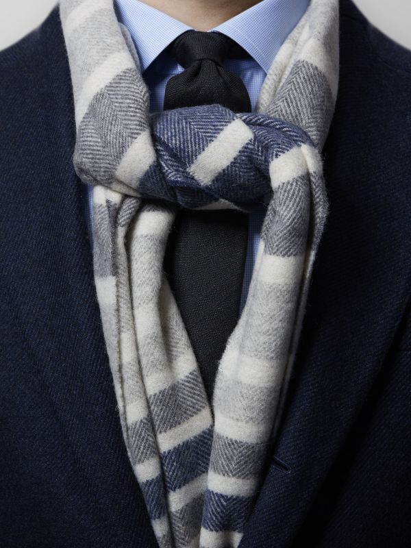 Blue Striped Pure Wool Scarf
