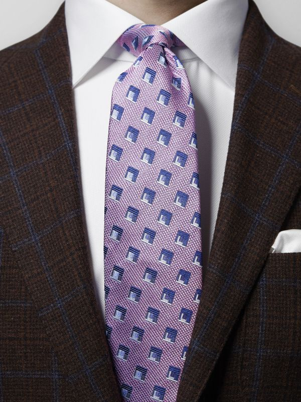 Pink Square Silk Tie