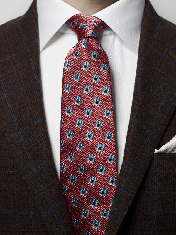 Red Square Silk Tie