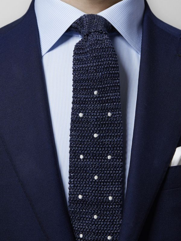 Navy Knit Silk & Cotton Polka Dots Tie