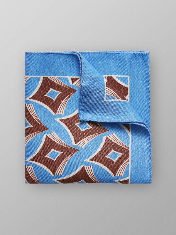 Blue Geometric Linen & Silk Pocket Square