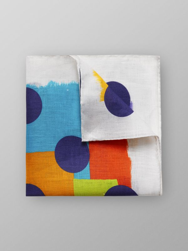 Geometric Print Linen Pocket Square
