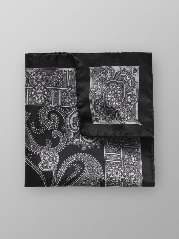 Black Paisley Print Silk Pocket Square