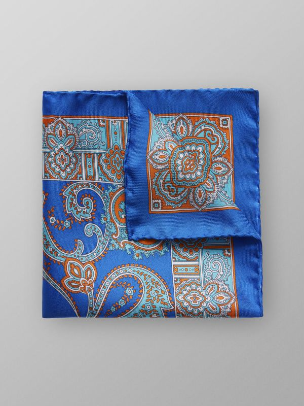 Blue Paisley Print Silk Pocket Square
