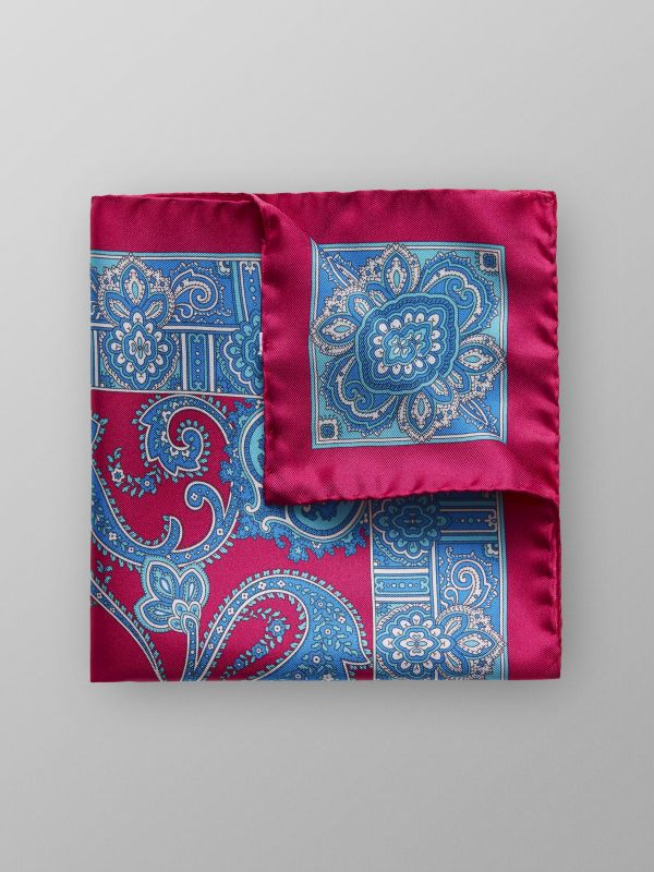 Red Paisley Print Silk Pocket Square