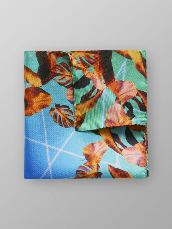 Blue Palm Tree Print Pocket Square