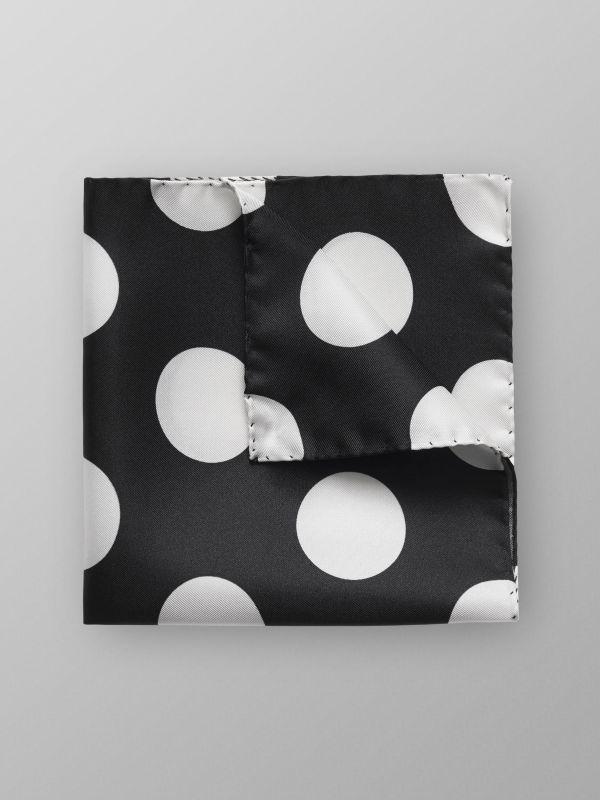 Black Bold Polka Dots Pocket Square