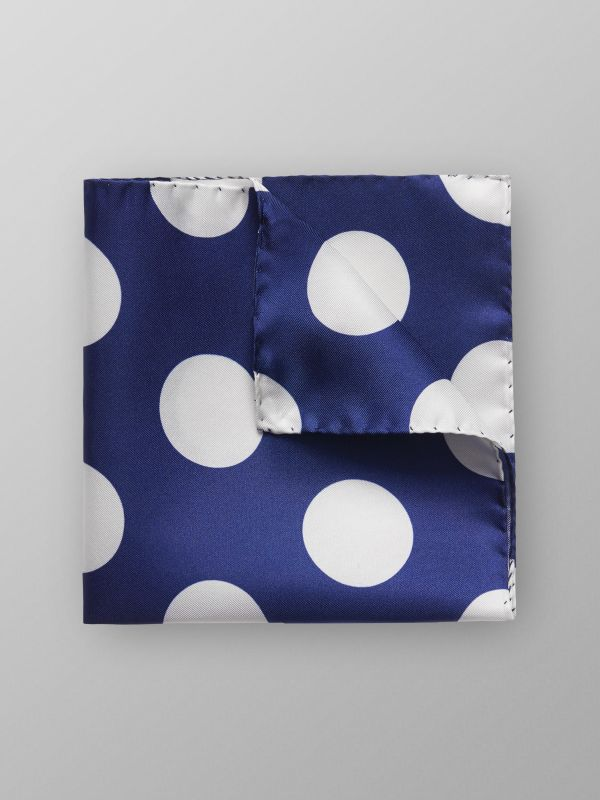 Navy Bold Polka Dots Pocket Square