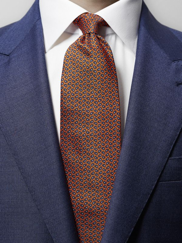 Orange Paisley Print Silk Tie