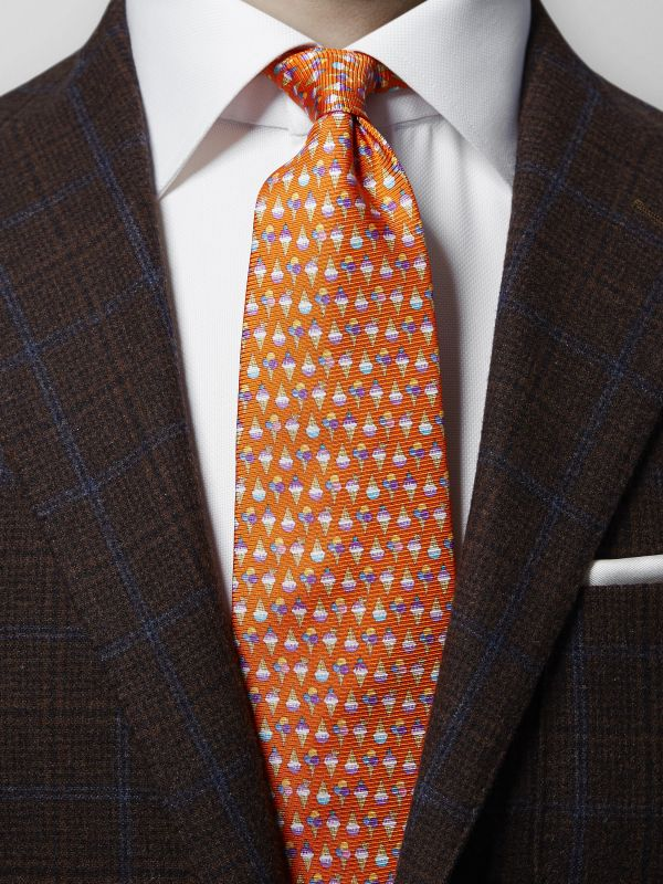 Orange Ice Cream Print Silk Tie