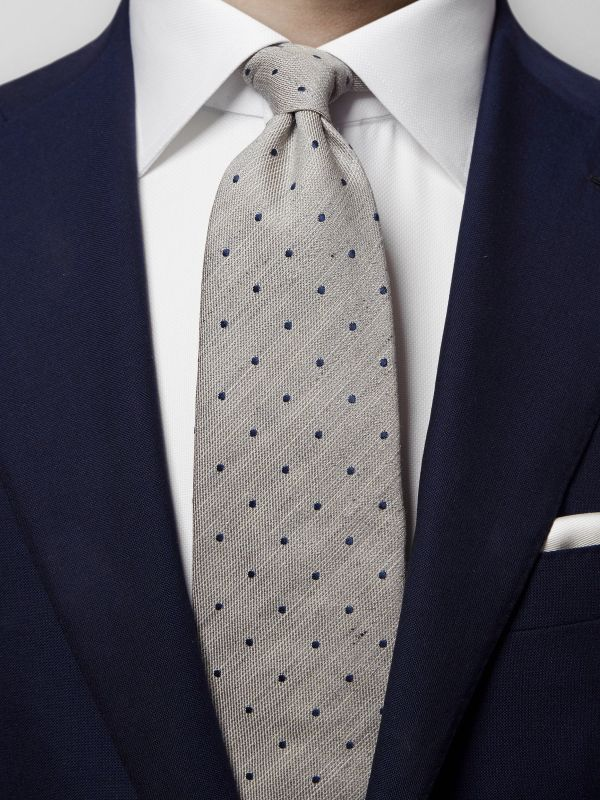 Grey Cotton, Silk & Linen Tie