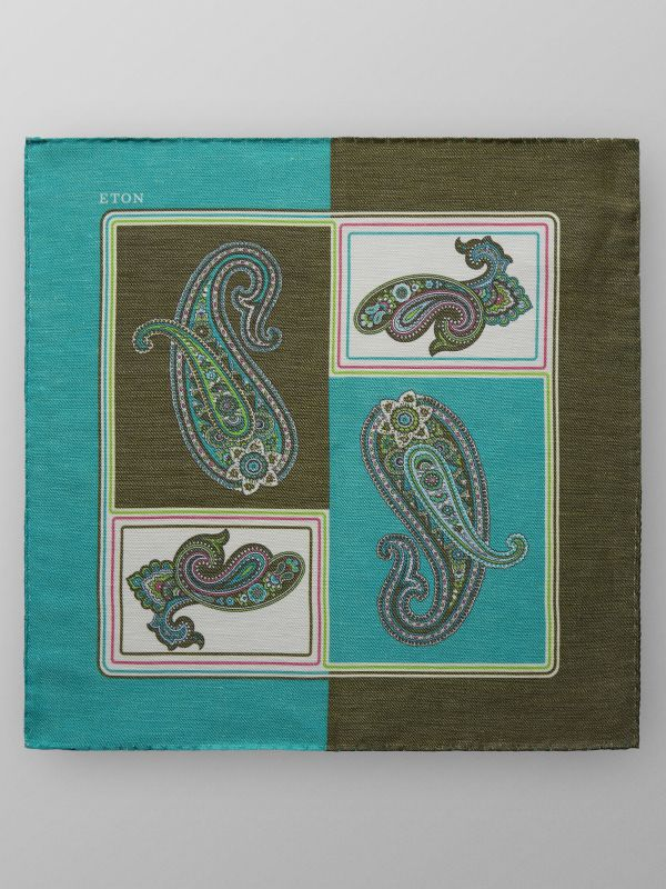 Green Paisley Linen & Silk Pocket Square