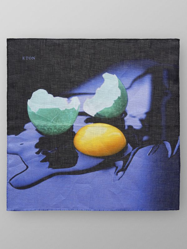 Egg Print Linen Pocket Square
