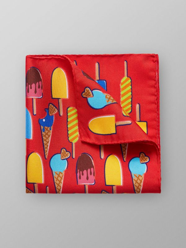 Red Ice Cream Pocket Square
